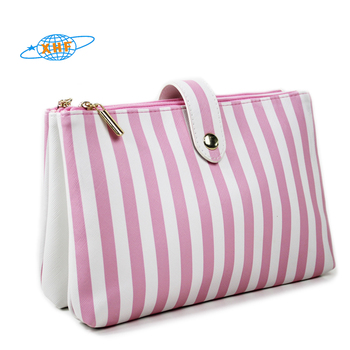 New design stripe lady clutch cosmetic bag party makeup pouch