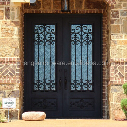 SEN-D163 Square Top Front Wrought Iron Double Doors