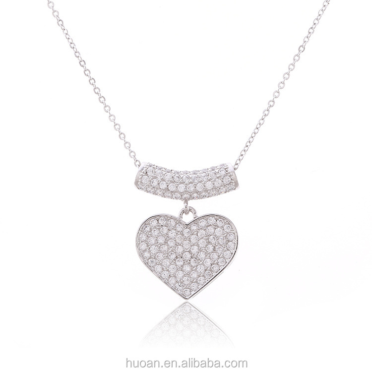 Micro Pave zircon shiny fashion heart-shaped pendant necklace accessories clavicle short neckalce