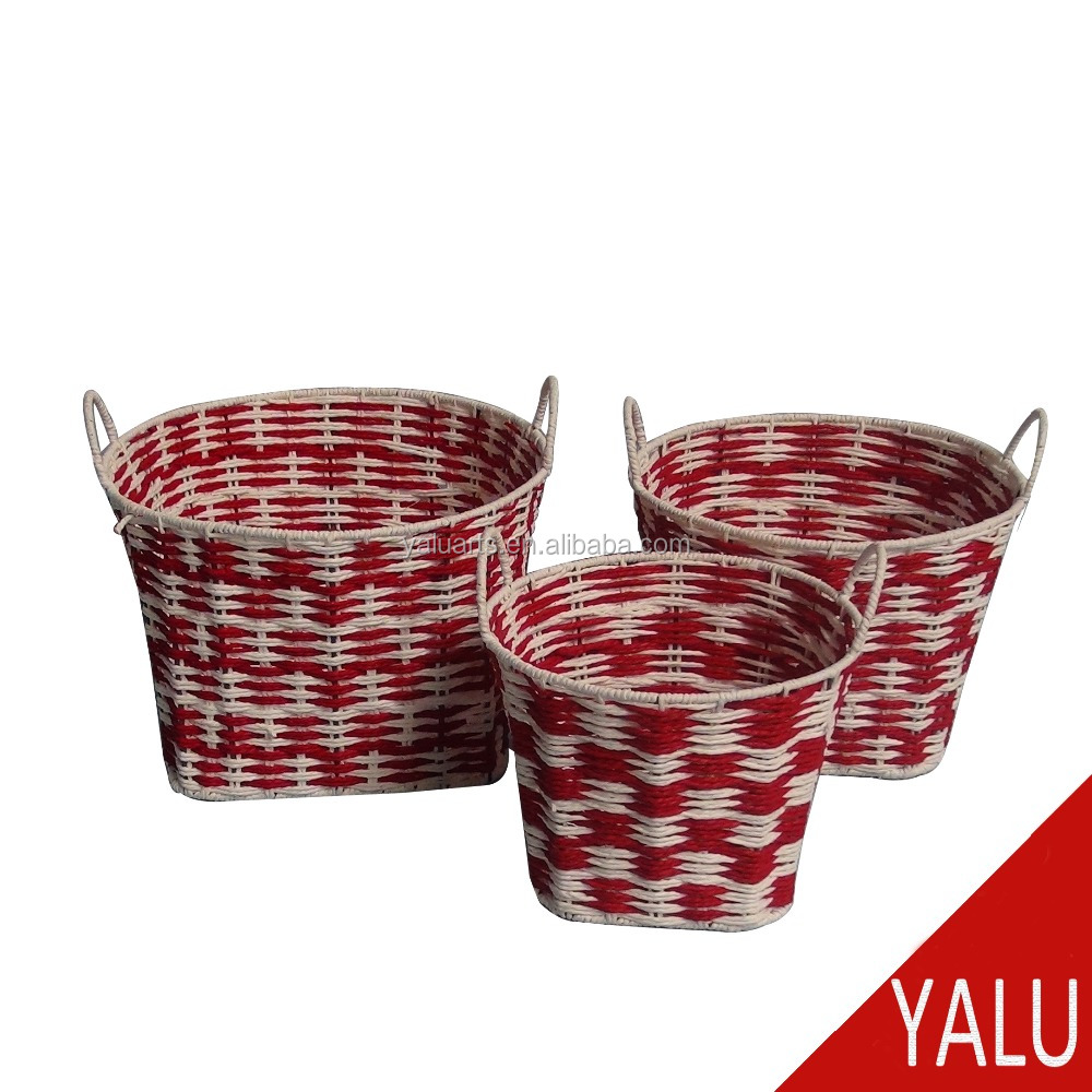 Cheap Colorful New design paper twist woven cord basket S/3 with handles H-16059