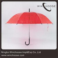 Walking Stick POE Material Red Low Price Umbrella 15002-45