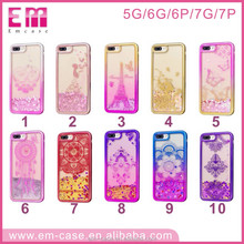 Colorful tpu Liquid Glitter Quicksand 3D Bling Phone Case Cover For iphone5 6 7