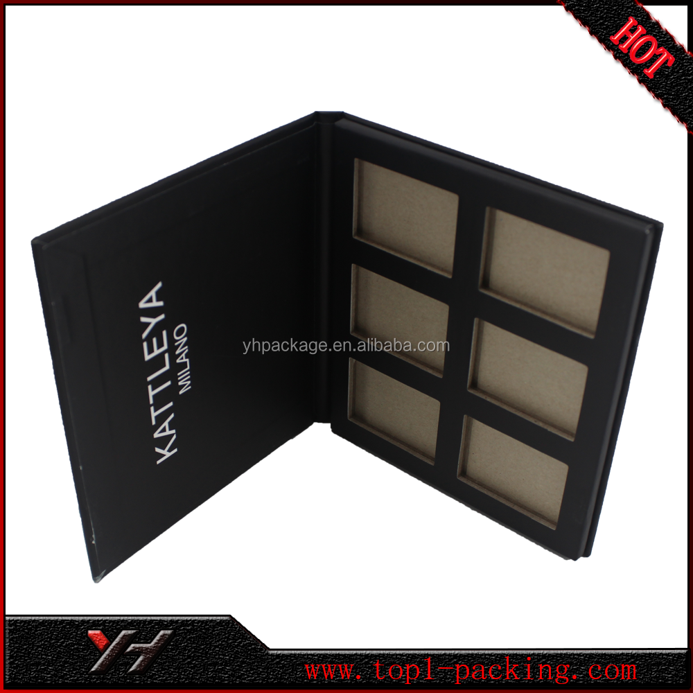 china wholesale black matte empty cosmetics paper eyeshadow palettes