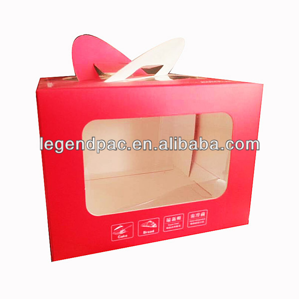 Lovely take away food packaging custom clear windows paper cupcake box with handle wholesale