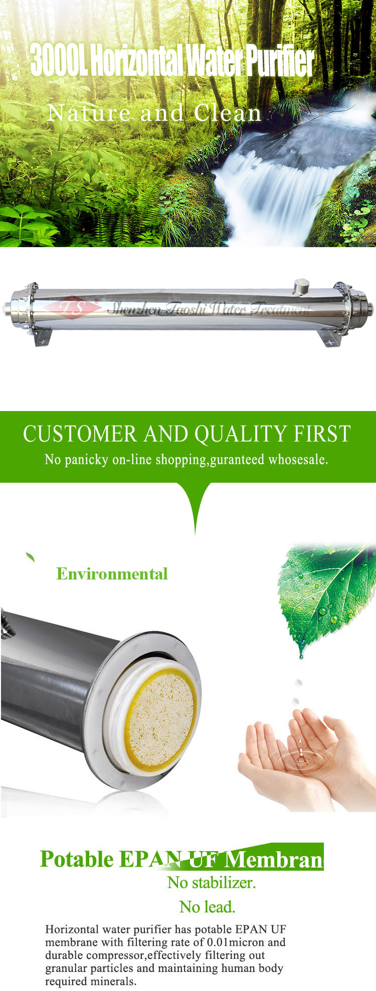 Nsf Horizontal 3000L Ro Water Filter Purifier For Industrial