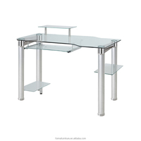 office computer table with glass top metal base