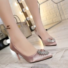 X60554A New Spring Summer Women Pumps Sweet Shiny High-heeled Shoes