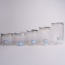 Clear round plastic PET easy open can with clear lid for dried food