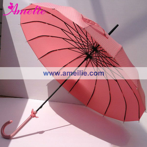 Polka Dotted Beach Style Pink Pagoda Umbrella