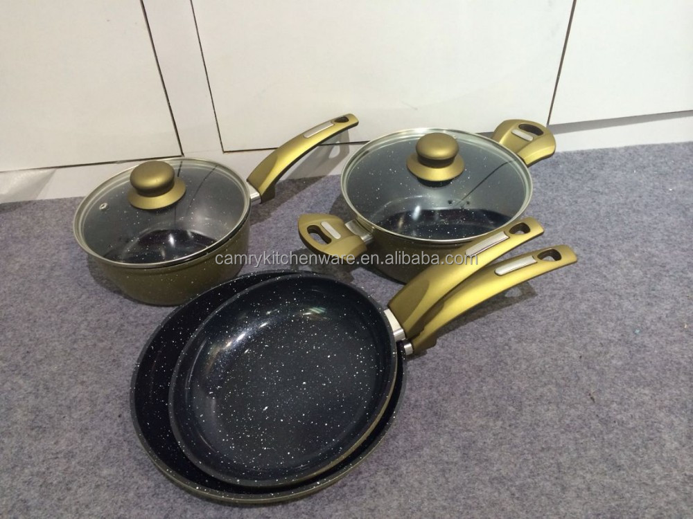 6pcs forged aluminium cookware set with soft touch handle