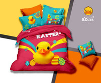 2015 spring baby pictures 3d bedding set yellow duck bed sheet