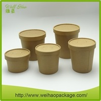 High quality kraft disposable hot soup deep paper bowl