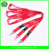 Silk screen printing logo nylon lanyard with metal hook