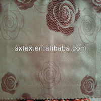 100%Polyester Fleece Base Rose Jacquard Curtain Fabric With Blackout Property