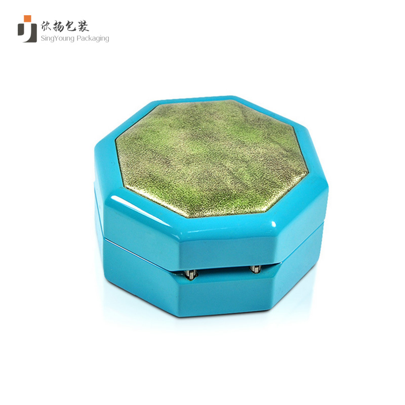 Gloosy Finish Light Blue Wooden Ring Box With Unique Design regular polyhedral angle