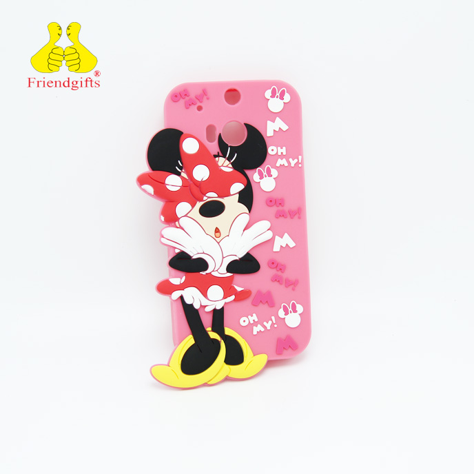 China factory pink girl embossed 3D soft custom silicone phone case