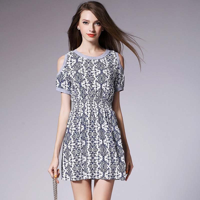 Wa1797 2015 Summer Cotton Floral Print Dress Wholesale ...