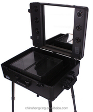 Professional trolley portable makeup station with lights and mirror