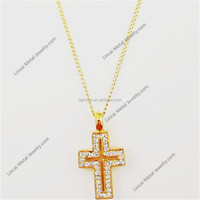 latest gold color crystal large cross pendant mens necklace