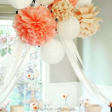 Wholesale handmade hanging craft tissue paper pompom flower ball baby shower wedding decor