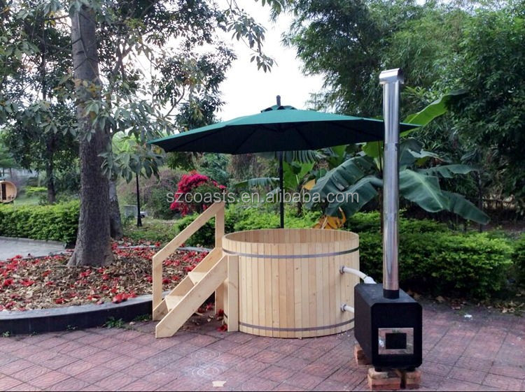 New Arrival Red Cedar Wood Hot Tub With Wood Burning Stove