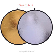Wholesale Photographic Equipment 60cm Golden and Silver Collapsible Disc Light Reflector