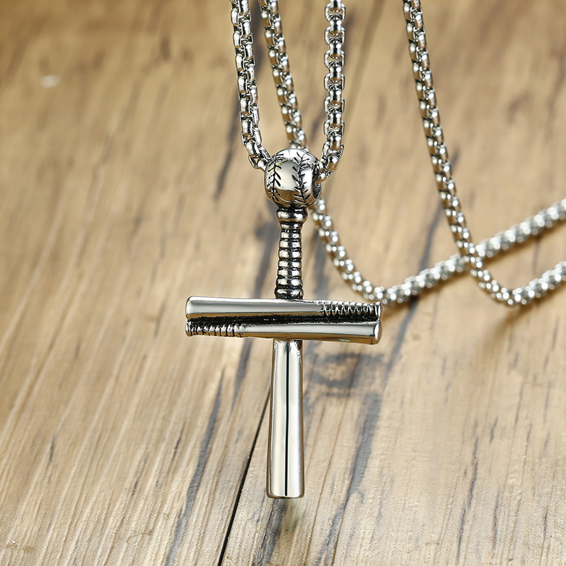 Vintage sport men jewelry titanium steel baseball cross necklace