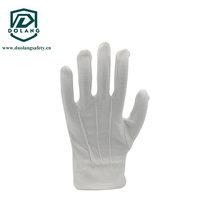 Inspection gloves with elastic braid on the back for marching band