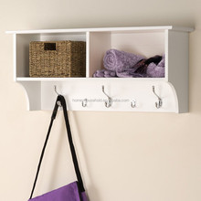 wholesale mdf wall clothing coat rack hooks shelf with wicker willow or rattan baskets