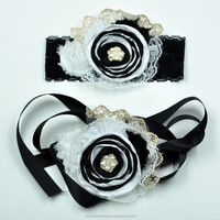 White and Black Layered Flower With Shabby Flower Wide Lace Headband Matching Sash Belt Baby Headband