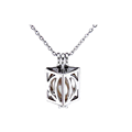 Pure 925 Sterling Silver Cube-shaped Pearl Cage Pendant Necklace Moon Style Pearl Jewelry