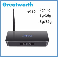 2016 Best Selling Tv Box Android Hd Sex Pron Video China Made X92 3Gb Ram Kodi 17.0 Amlogic S912 Android 7.0 Smart Tv Box