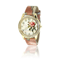 Fashion Women Casual luxury Watch Vintage Leather Rose gold Flower Ladies Watches Clock