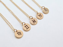 Personalized Jewelry 20mm round tag pendant zodiac necklace for Bridesmaid Gift