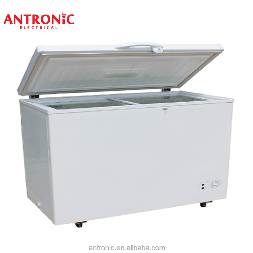 518L Top open chest freezer showcase curved flat glass chest freezer