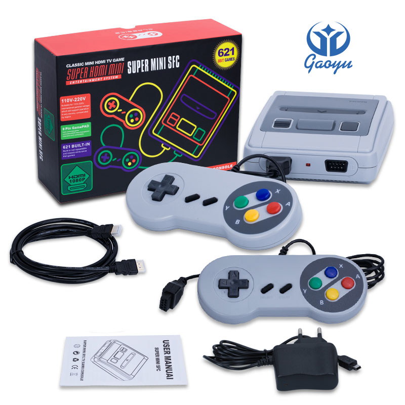 WHOLESALE MiniHDMI Output Built-in 621 Retro Classic Games TV Game Console Double Handheld Controllers Video Player For NESGames