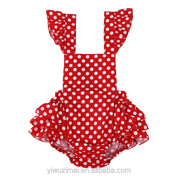 Cute Red Dots Pattern Cotton Infants Baby Romper One Piece Baby Girls Jumpsuit
