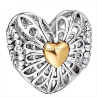 925 sterling silver hollow heart charm beads for bracelet