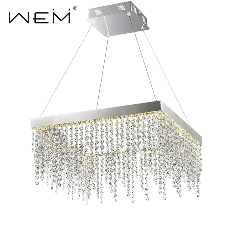 modern square crystal 29w chrome finished large led pendant light
