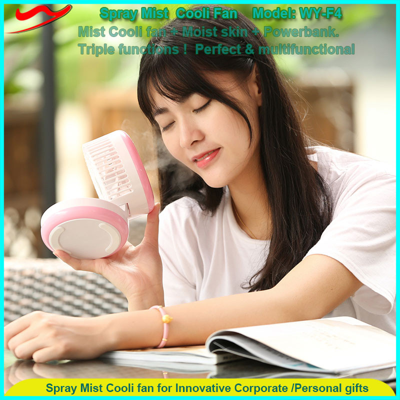 2016 trending gadget USB charge mini mist cooling system battery powered desk fan