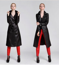 D12091A WOMEN LONG SLIMMING LEATHER CLOTHING