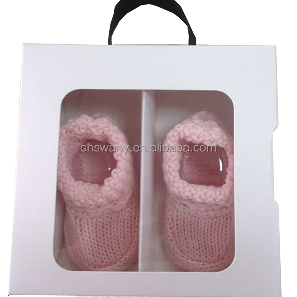Hand made flower Cotton Knitting liner and with suede fabric bottom baby shoes