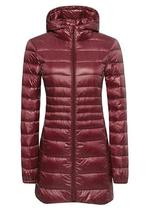 Ladies Free Sample Stock Winter Qulited Packable Ultralight Women Parka Hooded Long Down Jacket