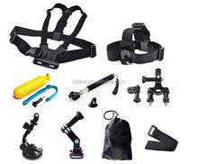 9 in 1 Kit Chest +Head Strap+Floating Grip +Handlebar Seatpost + Monopod +Suction Cup For Go Pro He ro 1 2 3 3+