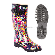 fashion graffiti print knee high rubber boots waterproof working boots
