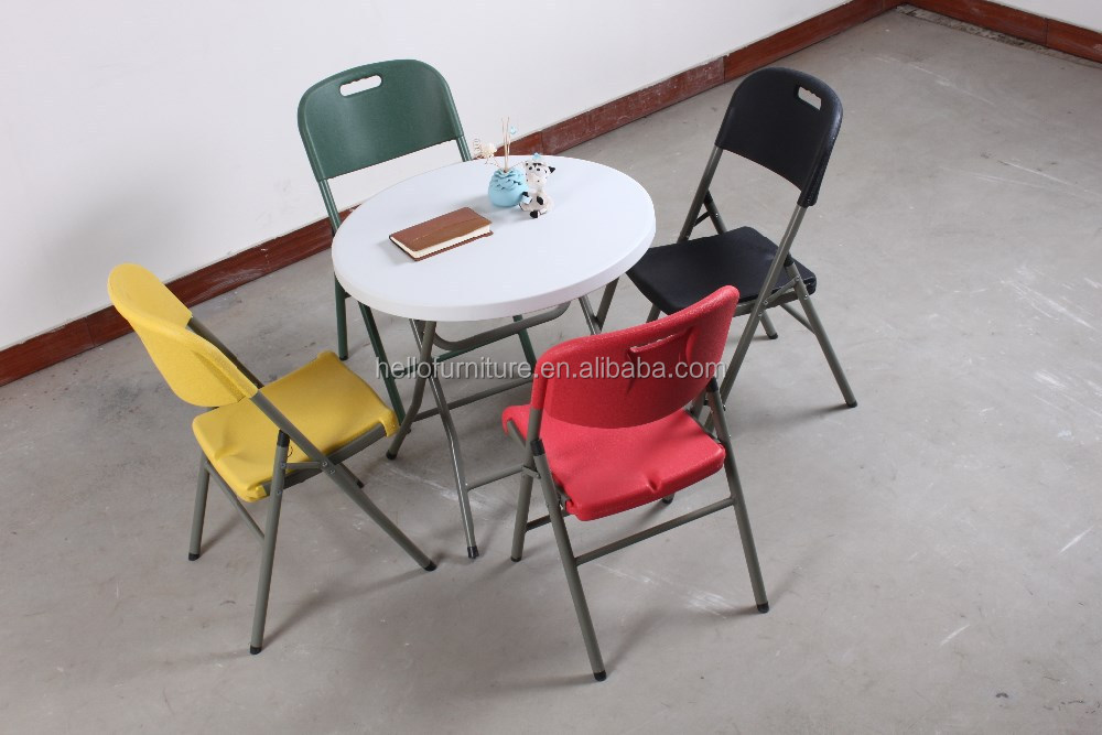 plastic round foldable table for sale, beautiful and comfortable for various fields