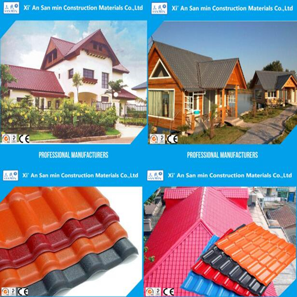 Recycle flexible corrugated plastic ASA synthetic terracotta roof tiles