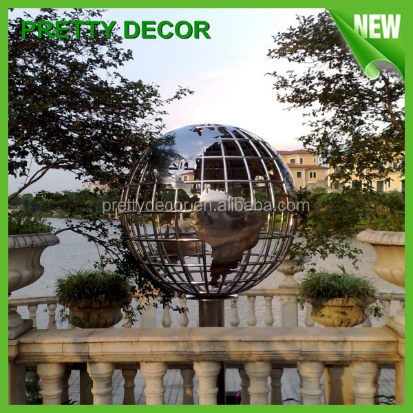 Stainless steel world globe for garden decoration