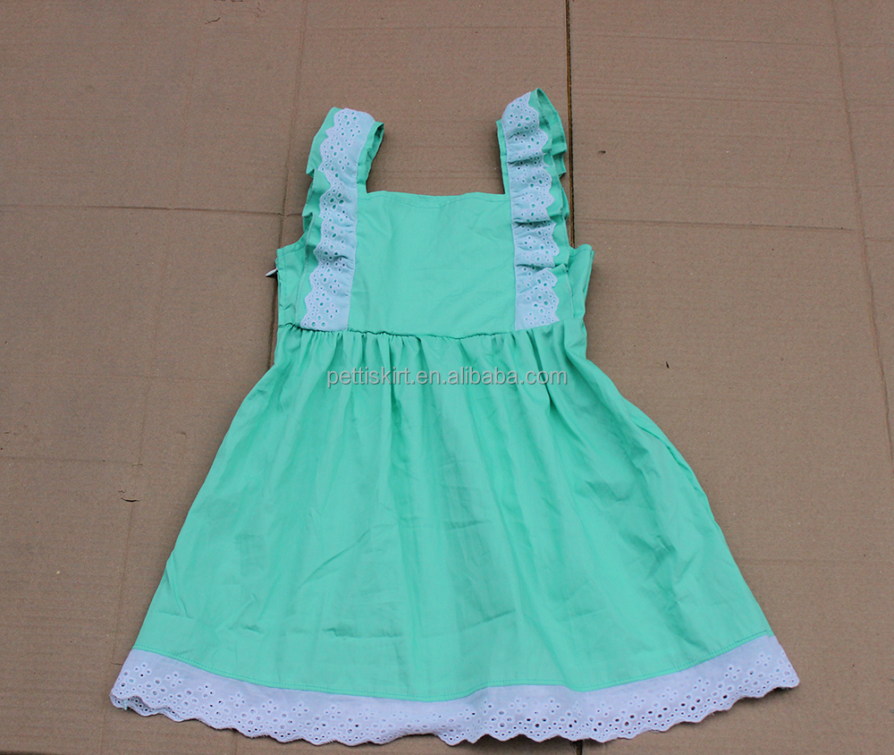 simple summer children cotton baby girls frock ruffle