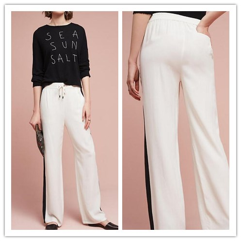 2017 New Design White and Black Fitted Cream Silk Pants For Ladies(KZ041401)